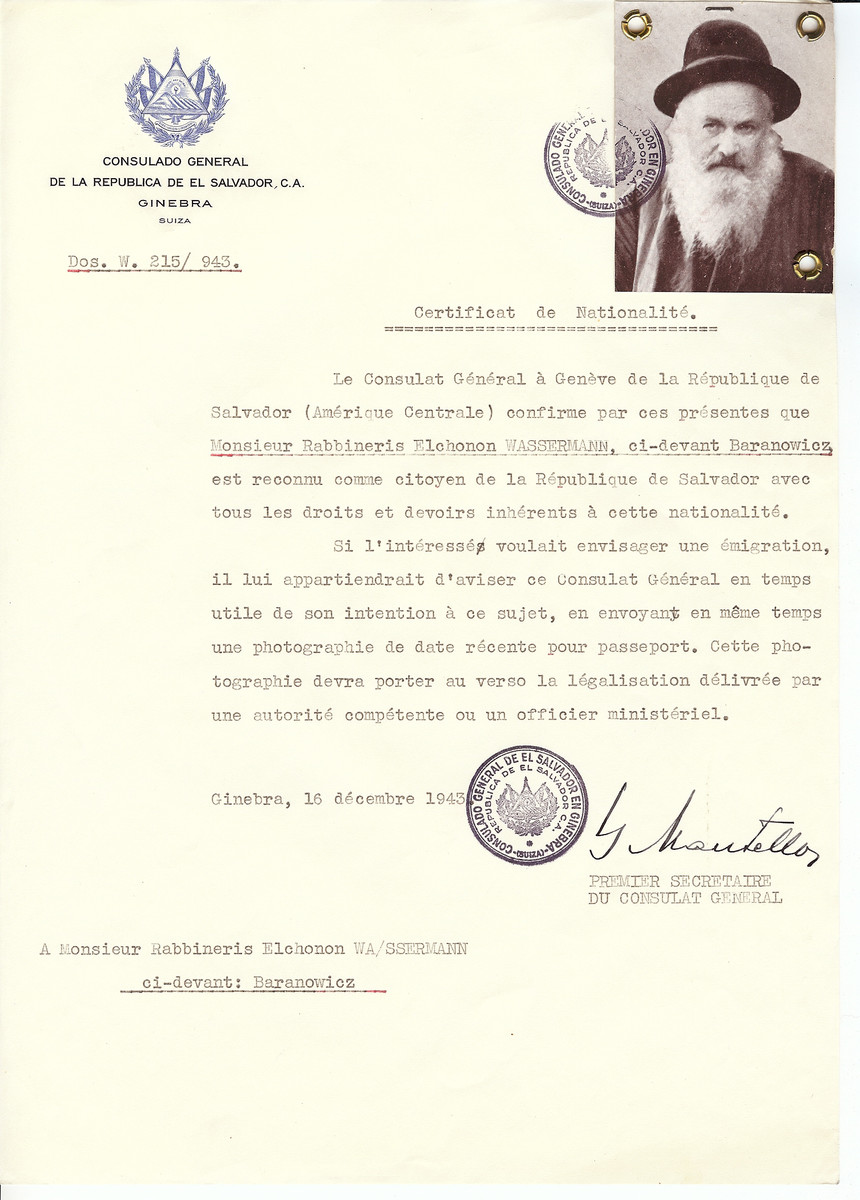 Unauthorized Salvadoran citizenship certificate issued to Rabbi Elchonon Wasserman by George Mandel-Mantello, First Secretary of the Salvadoran Consulate in Switzerland.  Rabbi Wasserman was killed in July 1941 two and a have years before the certificate was issued.