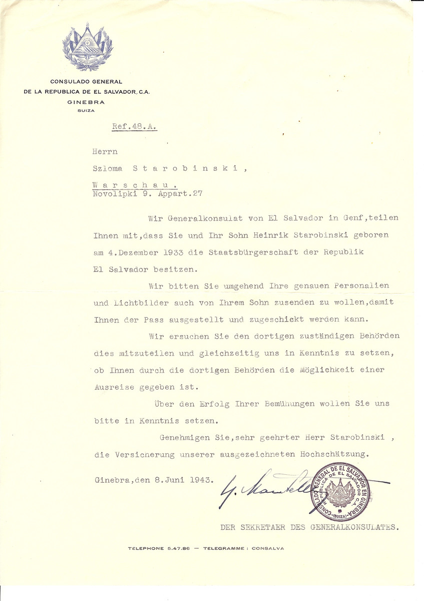 Unauthorized Salvadoran citizenship certificate issued to Szlomo Starobinski by George Mandel-Mantello, First Secretary of the Salvadoran Consulate in Switzerland and sent to him in Warsaw.