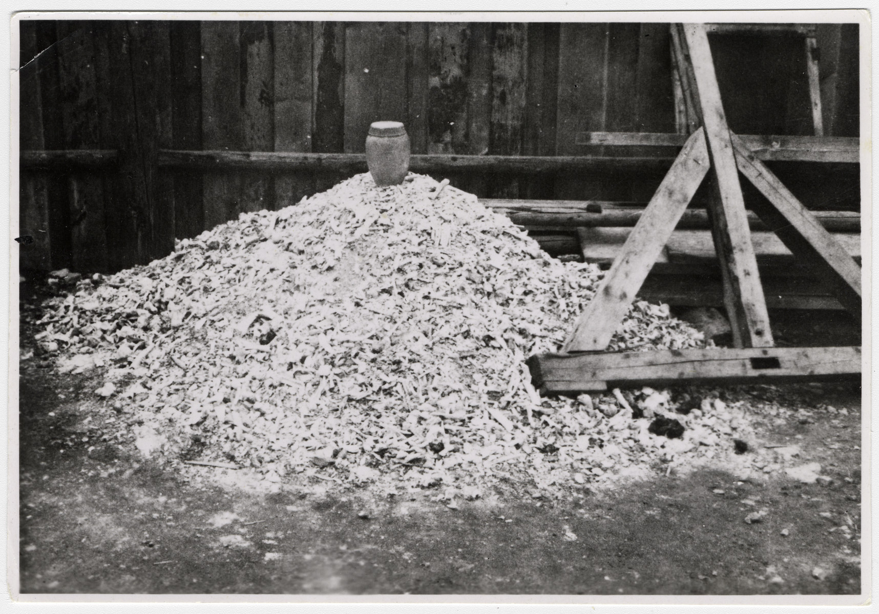 View of a pile of human remains found in Buchenwald concentration camp.