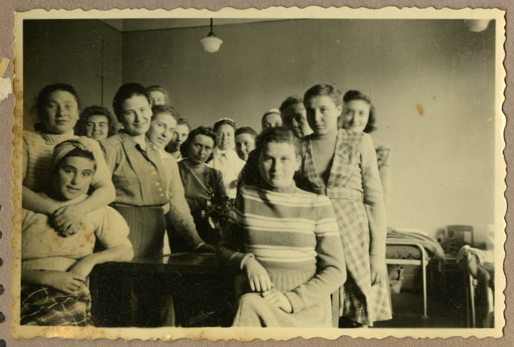 Jewish Holocaust survivors, housed in a hospital in Karlstad, Sweden, pose for a photograph.