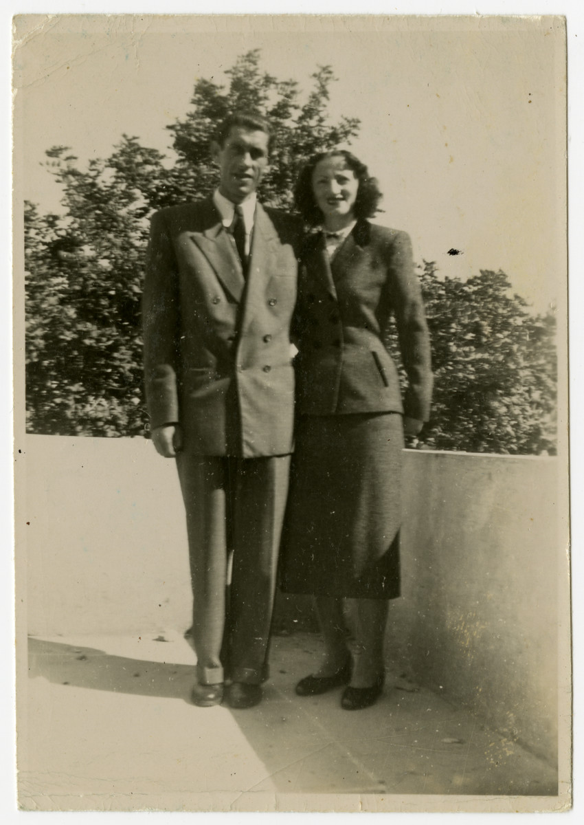 Jewish Holocaust survivors pose for a photorgraph in Israel shortly before their wedding.  Pictured are Sali Berl and Mosche Bogatyrow.