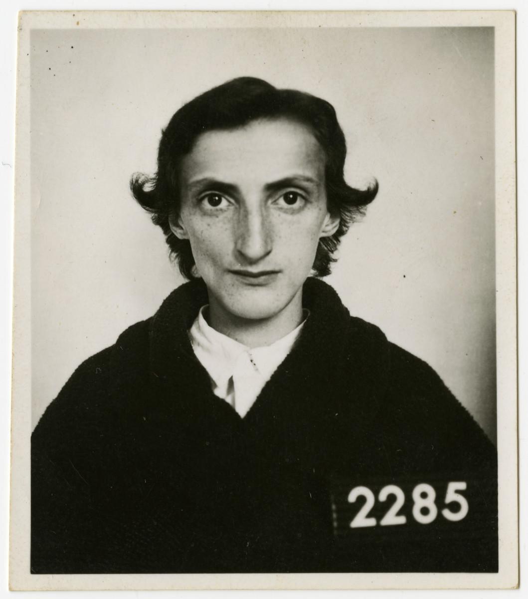 Identification photograph of Jewish Holocaust survivor Sali Berl taken following her liberation from Bergen-Belsen.