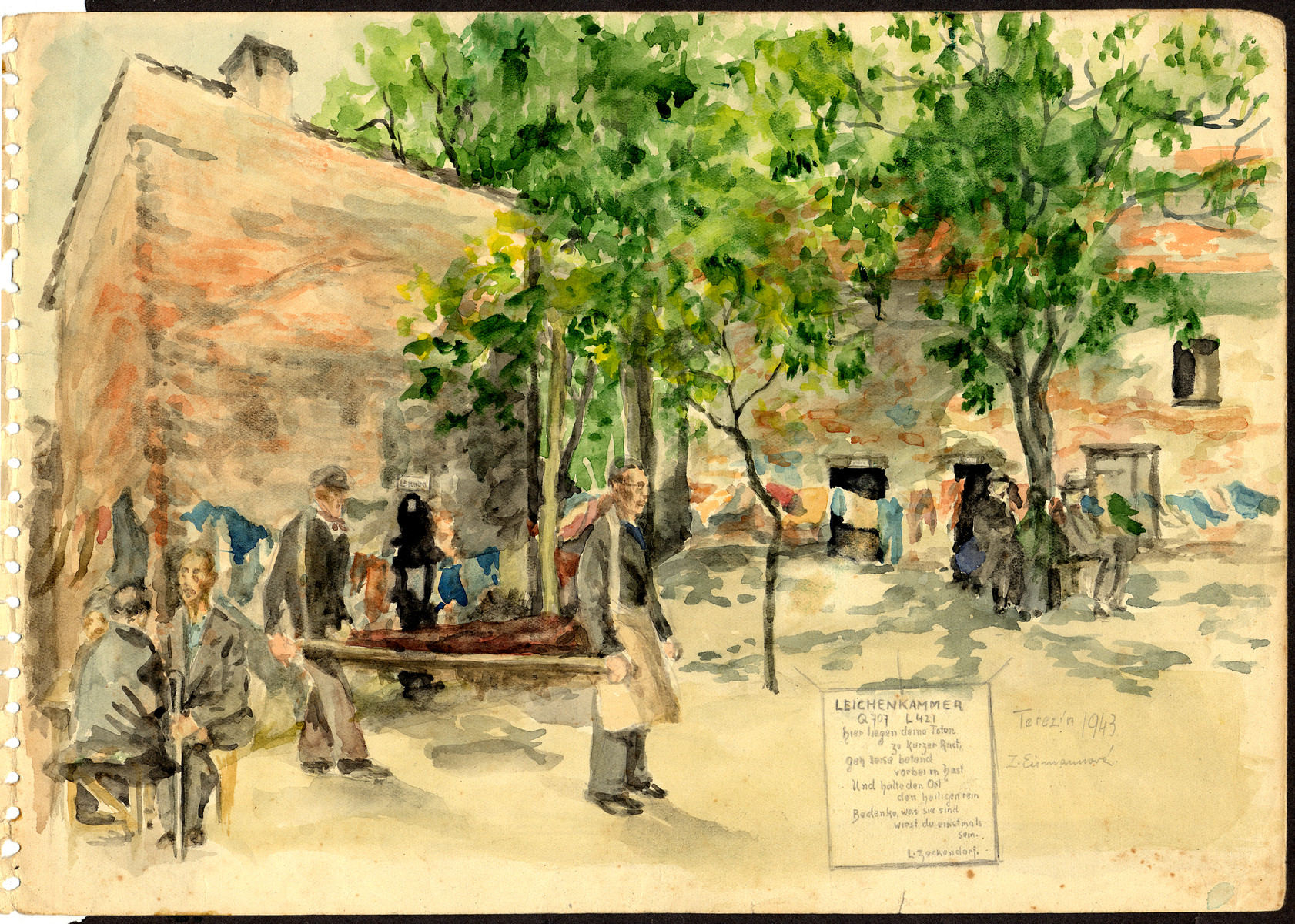 A watercolor painting on paper of the Theresienstadt mortuary created by Zdenka Eismannova while she was interned in Theresienstadt.