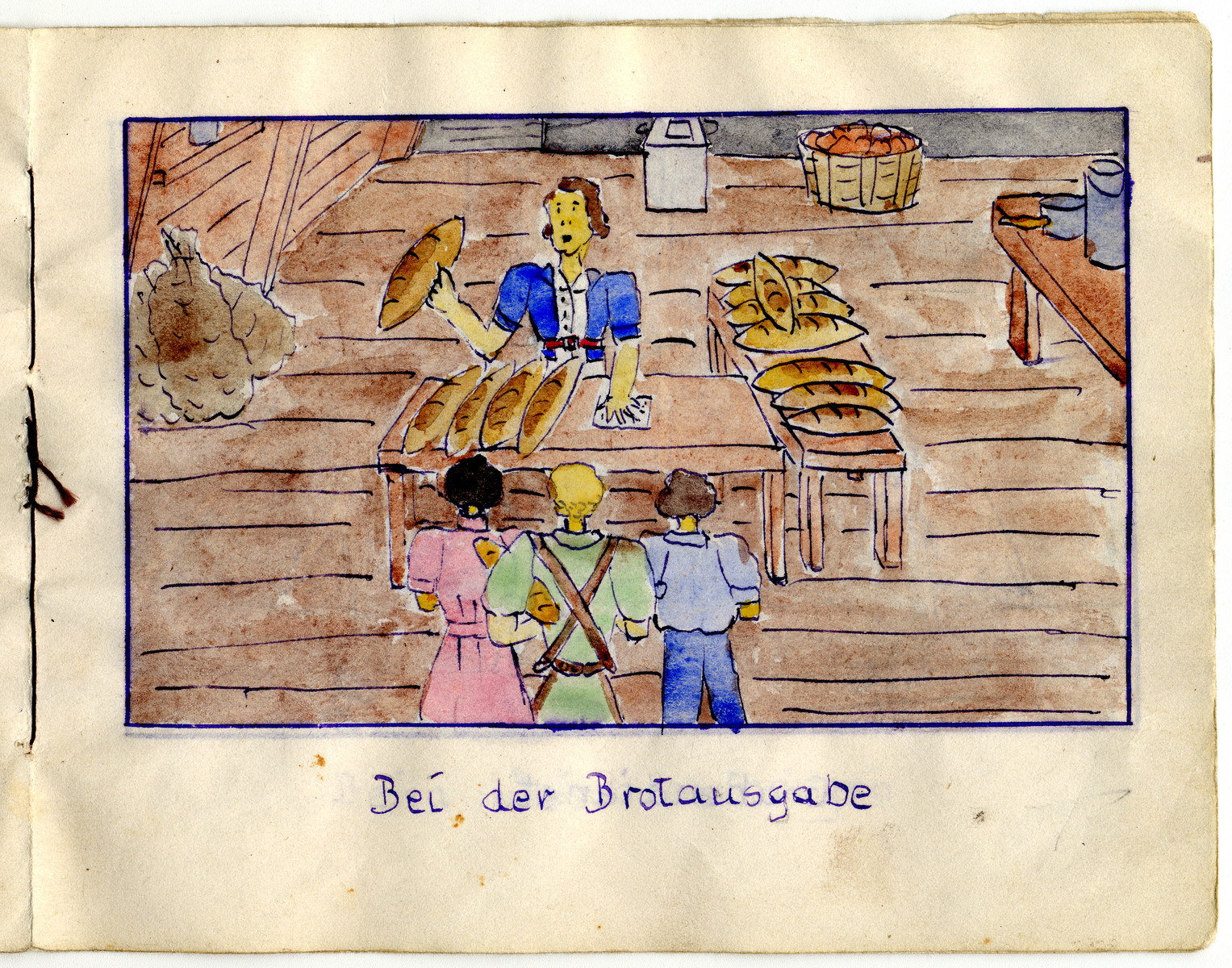 "Page from the memoirs of Camp de Gurs illustrated by Eva Liebhold.  This page is entitled ""Bread distribution""."