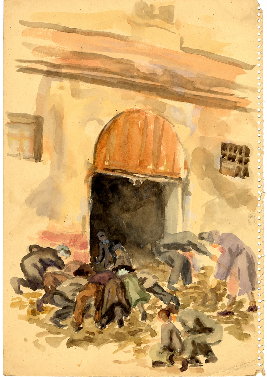 A watercolor painting on paper created by Zdenka Eismannova while she was interned in Theresienstadt depicting inmates either rummaging or clearning up the grounds outside a building in the camp.