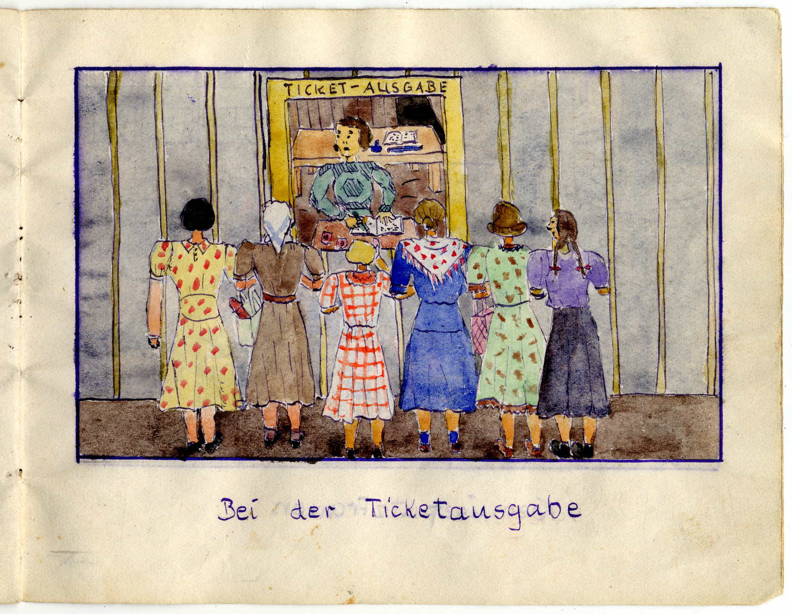 """Page from the memoirs of Camp de Gurs illustrated by Eva Liebhold.  This page is entitled """"Distributing tickets."""""""
