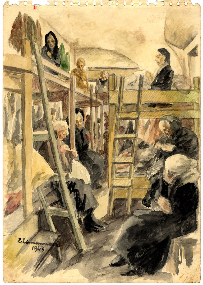 A watercolor painting on paper created by Zdenka Eismannova while she was interned in Theresienstadt depicting women resting on the bunk beds of a crowded barrack.