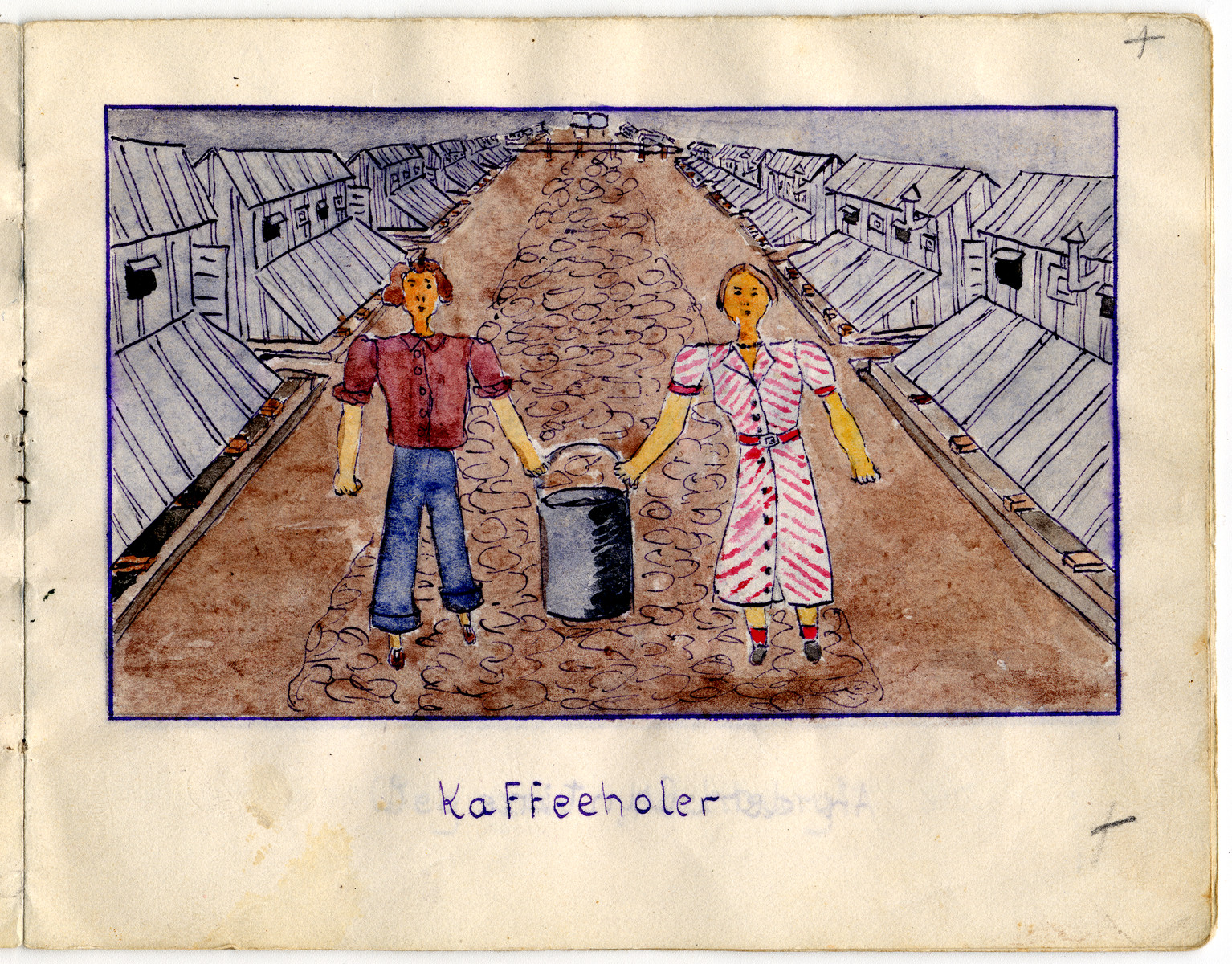 Page from the memoirs of Camp de Gurs illustrated by Eva Liebhold.  This page shows two prisoners carrying a large pot of coffee.