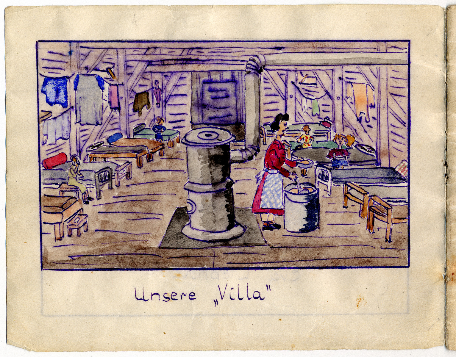 """Page from the memoirs of Camp de Gurs illustrated by Eva Liebhold.  This page is entitled """"Our villa"""" and shows the interior of a barrack."""