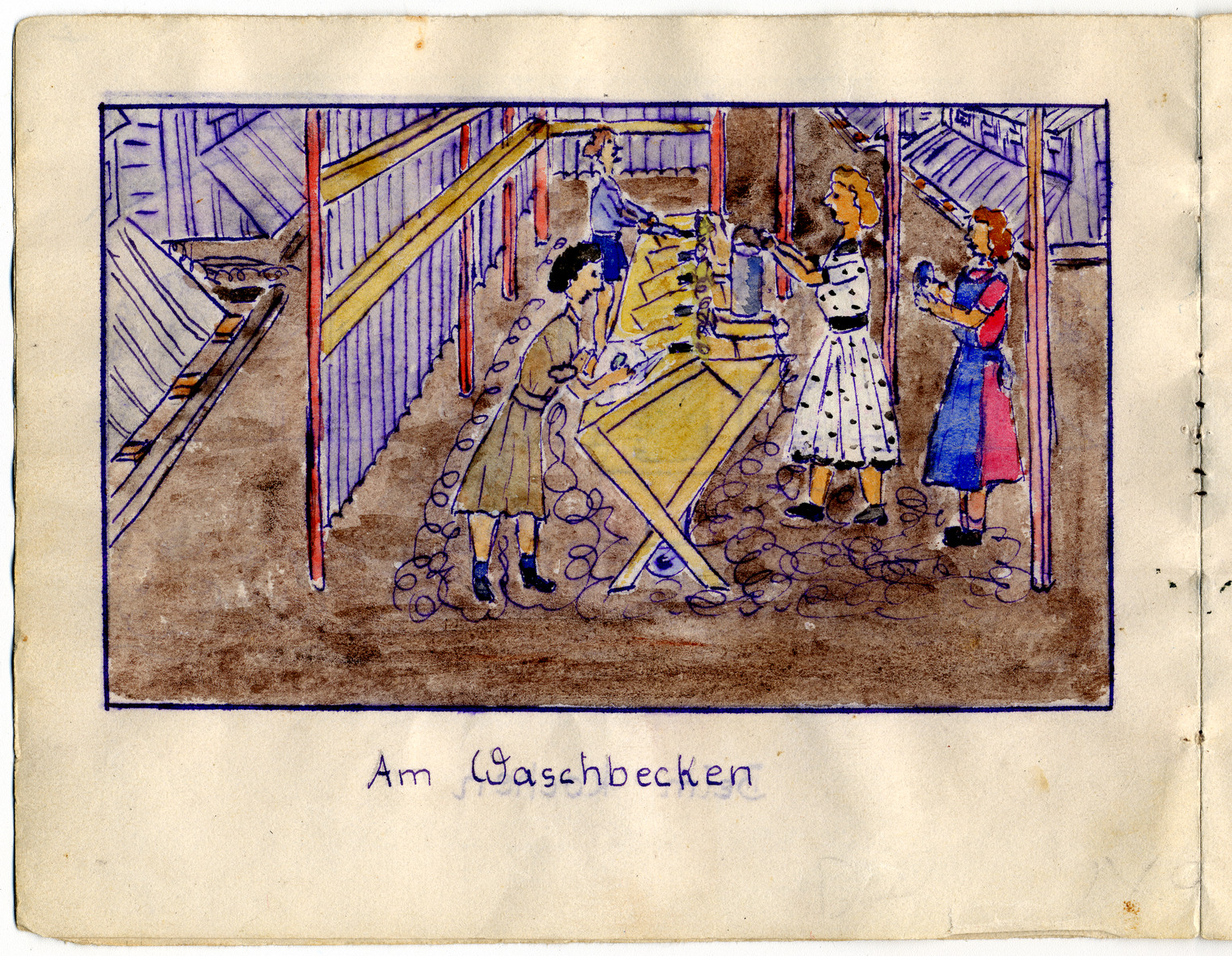 """Page from the memoirs of Camp de Gurs illustrated by Eva Liebhold.  This page is entitled """"The sink"""" shows four women standing by a row of basins doing dishes."""