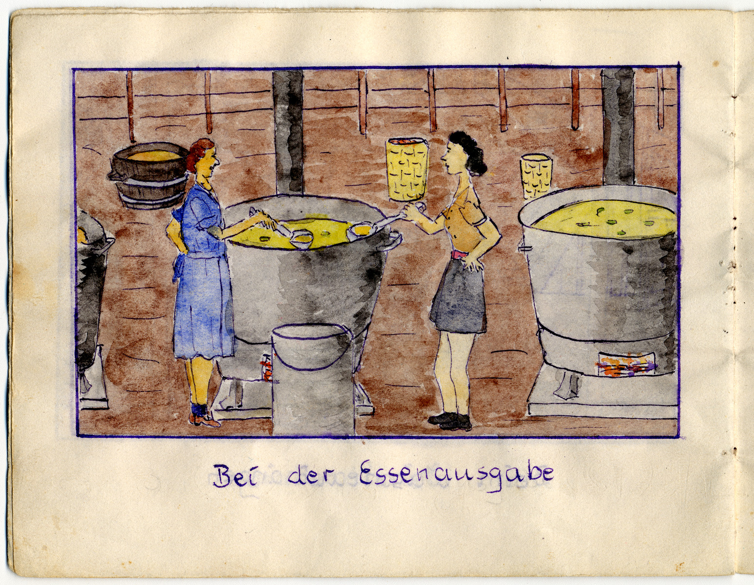"Page from the memoirs of Camp de Gurs illustrated by Eva Liebhold.  This page is entitled ""Food distribution""."