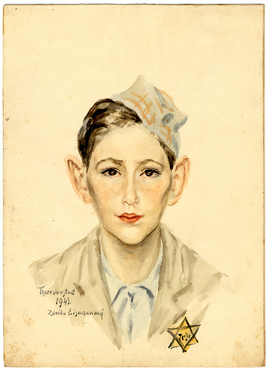 A watercolor painting on paper created by Zdenka Eismannova while she was interned in Theresienstadt depicting a young boy wearing a cap and a Jewish star.