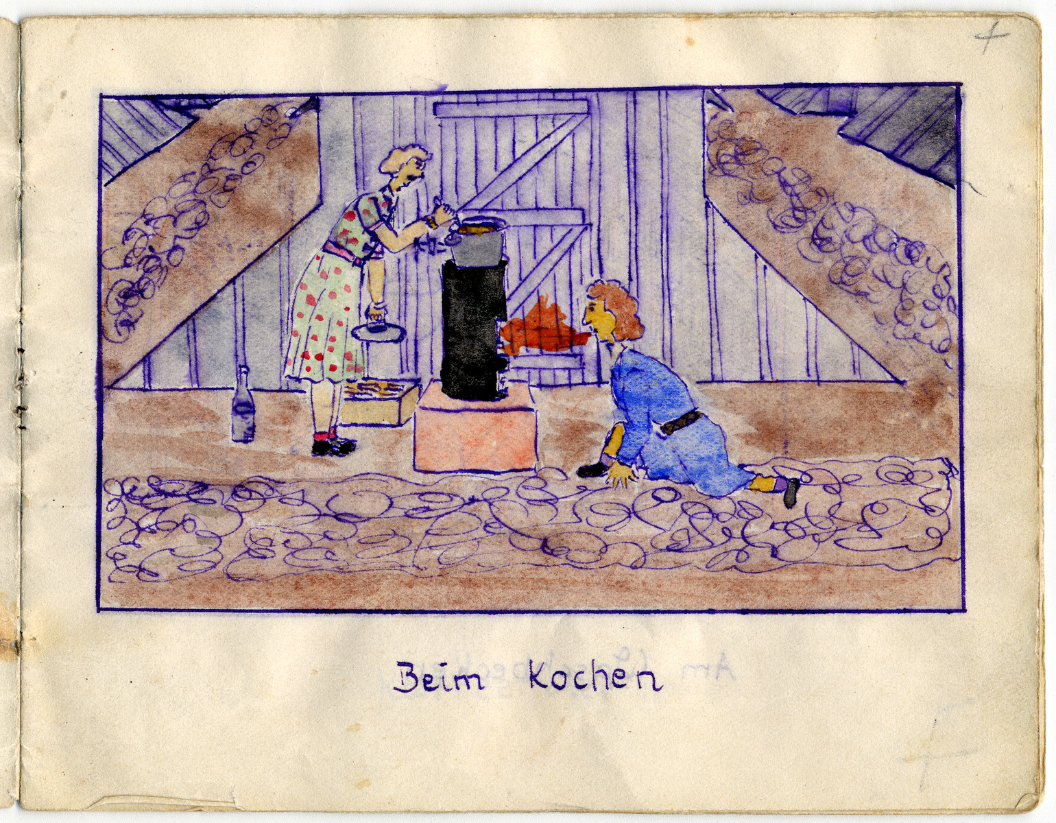 "Page from the memoirs of Camp de Gurs illustrated by Eva Liebhold.  This page is entitled ""When cooking."""