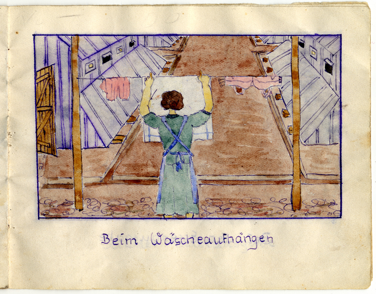 "Page from the memoirs of Camp de Gurs illustrated by Eva Liebhold.  This page is entitled ""Hanging up the wash""."