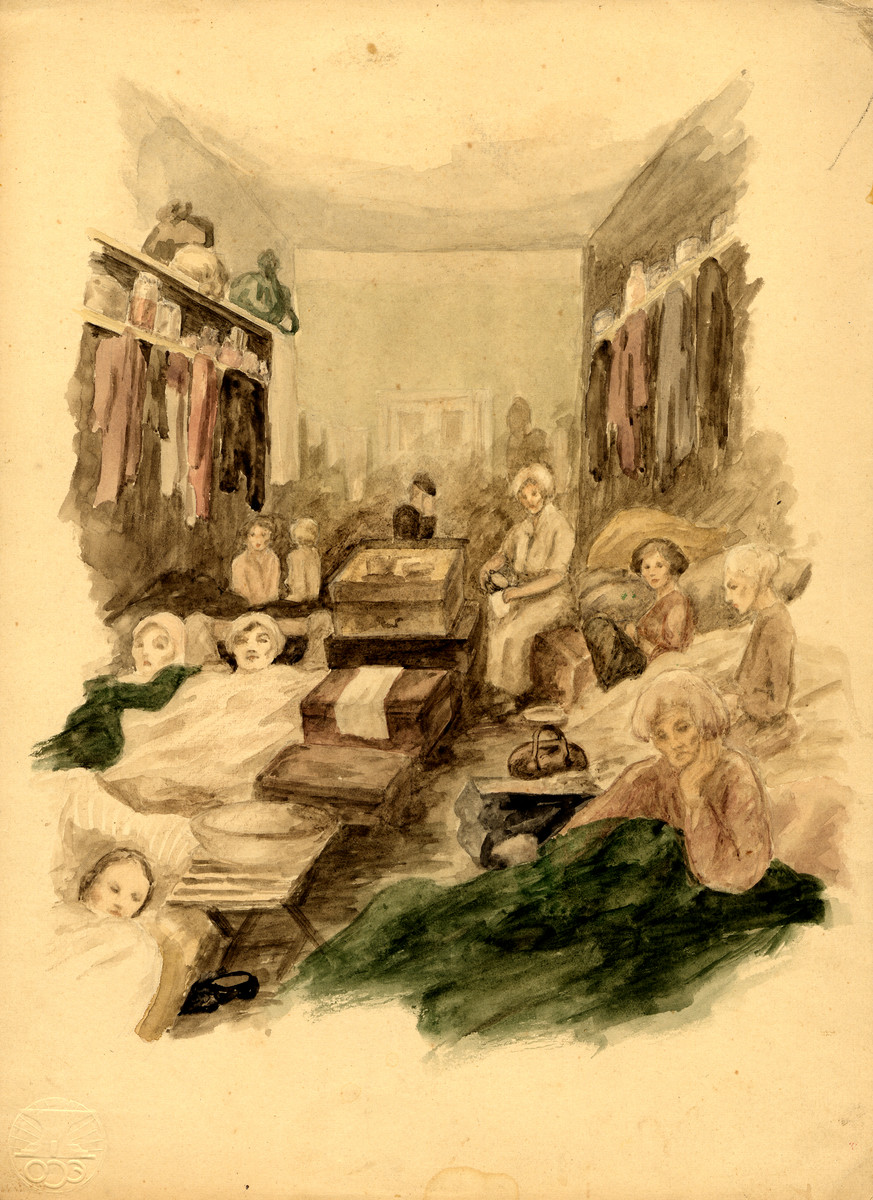 A watercolor painting on paper created by Zdenka Eismannova while she was interned in Theresienstadt depicting women lying down in a crowded barrack in the camp.