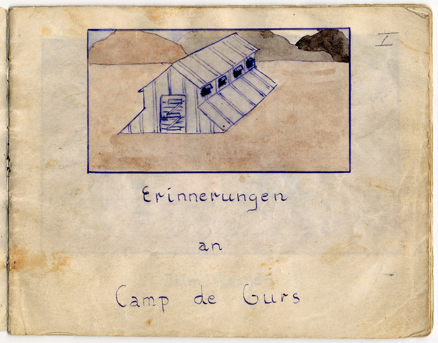 Page from the memoirs of Camp de Gurs illustrated by Eva Liebhold.  This page shows the exterior of a barrack.