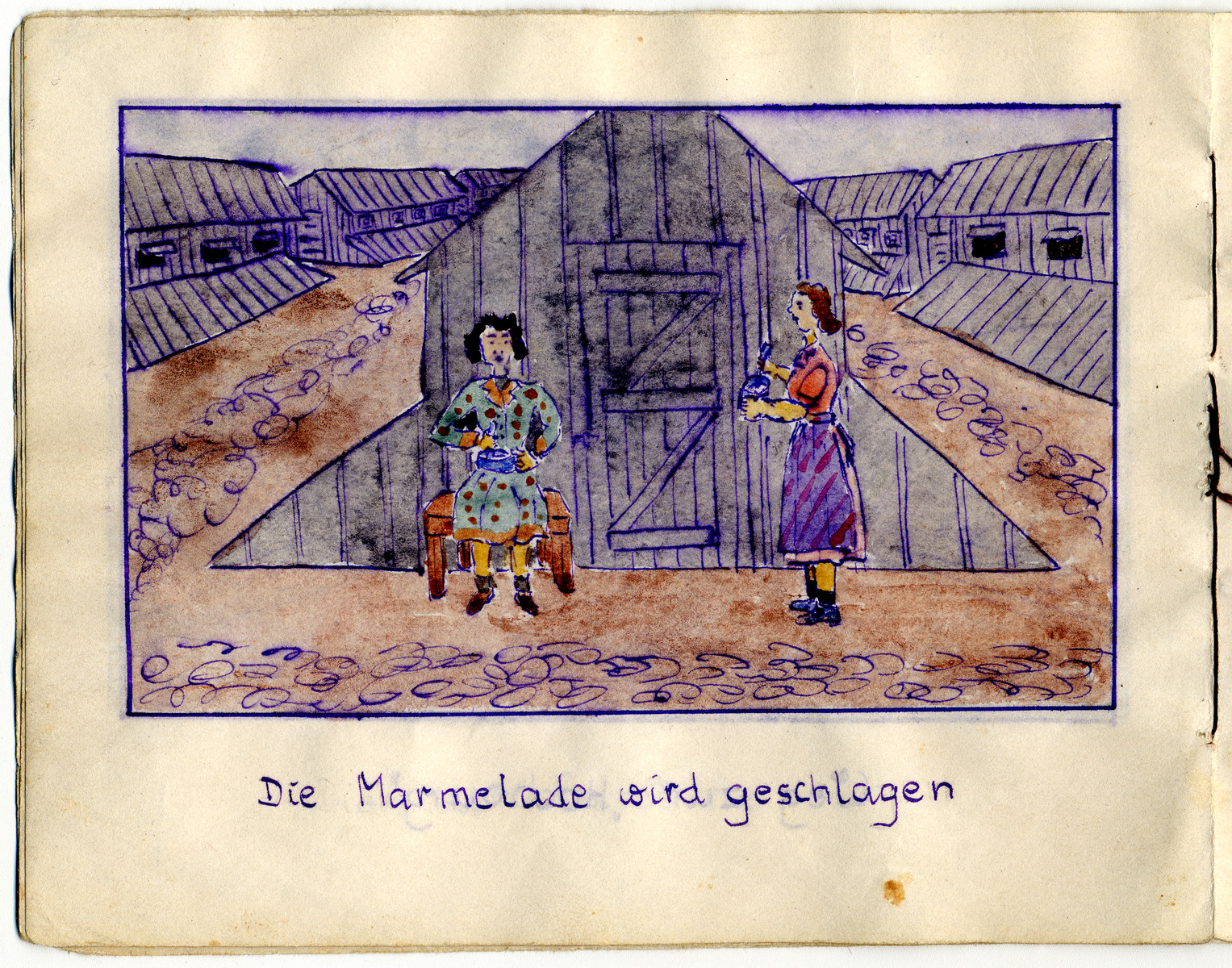 "Page from the memoirs of Camp de Gurs illustrated by Eva Liebhold.  This page is entitled ""The marmalade is beaten."""