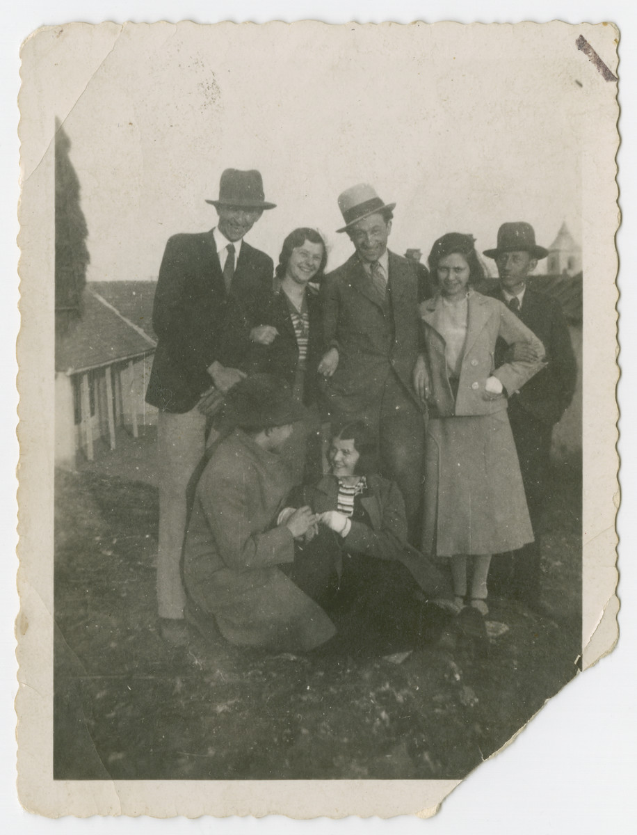 Friderika Klein poses with a group of cousins in prewar Hungary.  Friderika is pictured in the front.