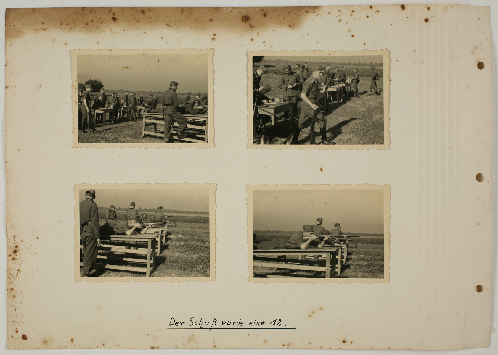 """One page from an album created by adjutant to the commandant Karl Hoecker, depicting SS activities in and around the Auschwitz concentration camp.  The original caption reads """"The shot was a 12."""""""
