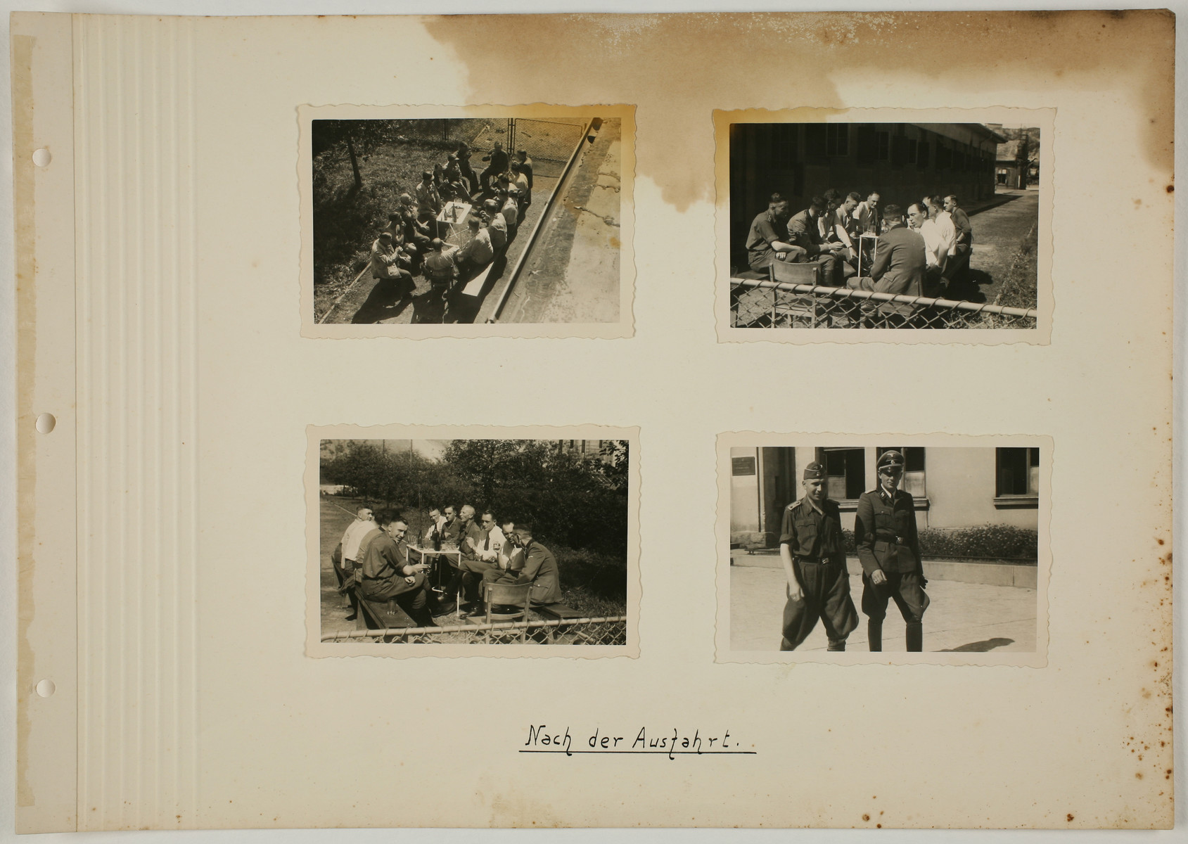 """One page from an album created by adjutant to the commandant Karl Hoecker, depicting SS activities in and around the Auschwitz concentration camp.  The original caption reads """"After the outing."""""""