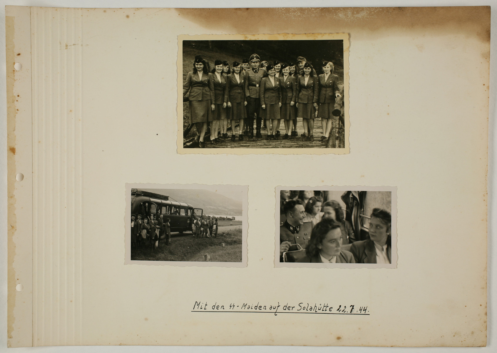 "One page from an album created by adjutant to the commandant Karl Hoecker, depicting SS activities in and around the Auschwitz concentration camp.  The original caption reads ""With the SS Maidens at Solahuette, 22.7.44."""