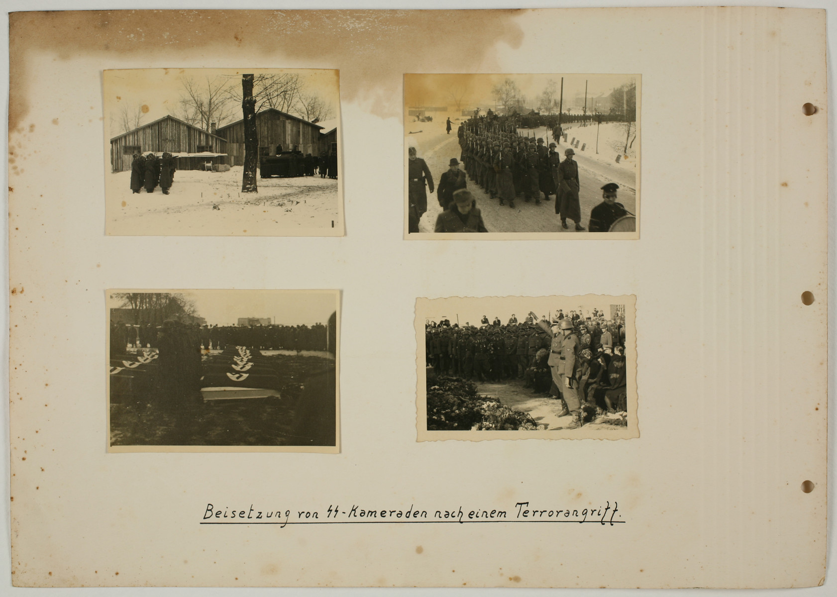"One page from an album created by adjutant to the commandant Karl Hoecker, depicting SS activities in and around the Auschwitz concentration camp.  The original caption reads ""Burying our SS comrades from a terror attack."""