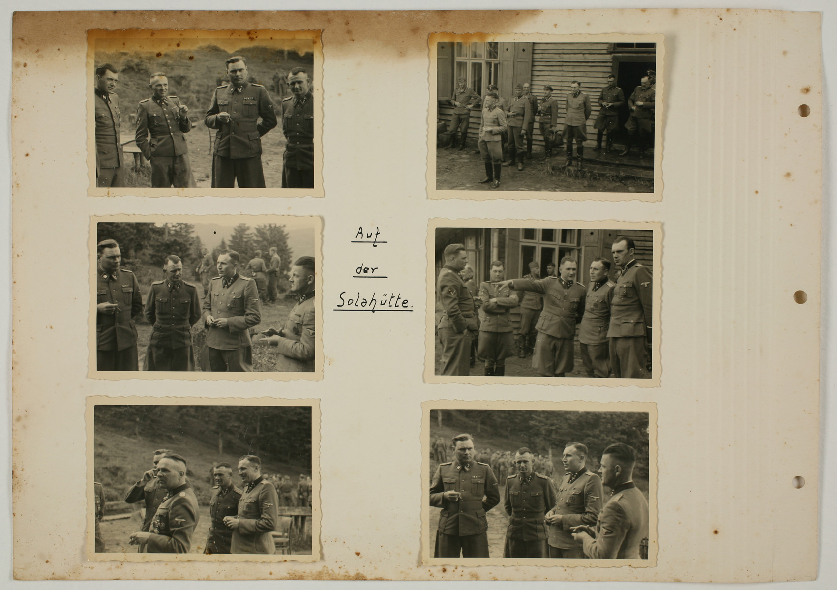 "One page from an album created by adjutant to the commandant Karl Hoecker, depicting SS activities in and around the Auschwitz concentration camp.  The original caption reads ""At Solahuette.'"