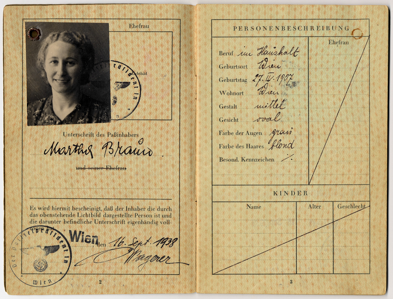 "Passport with a red ""J"" and the imposed middle name ""Sara"" issued to Martha Braun."