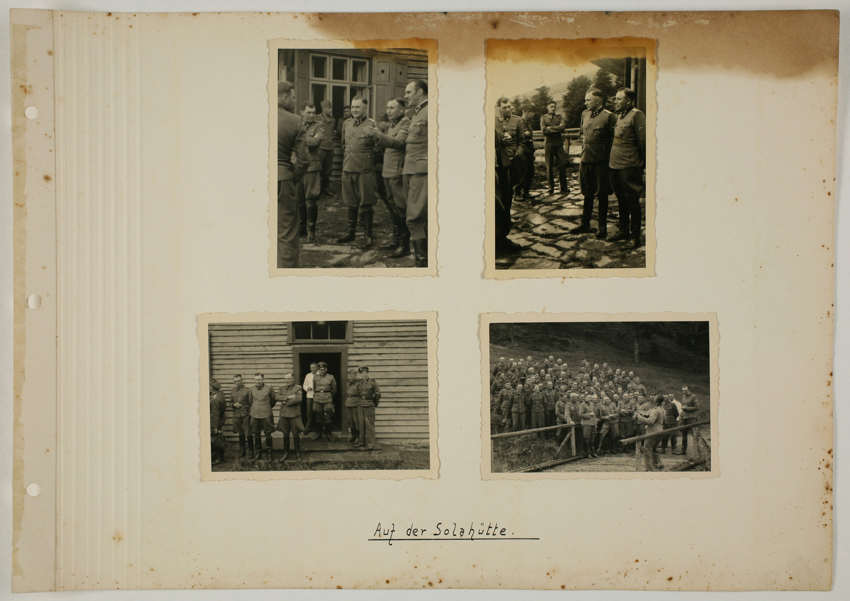"One page from an album created by adjutant to the commandant Karl Hoecker, depicting SS activities in and around the Auschwitz concentration camp.  The original caption reads ""At Solahuette."""