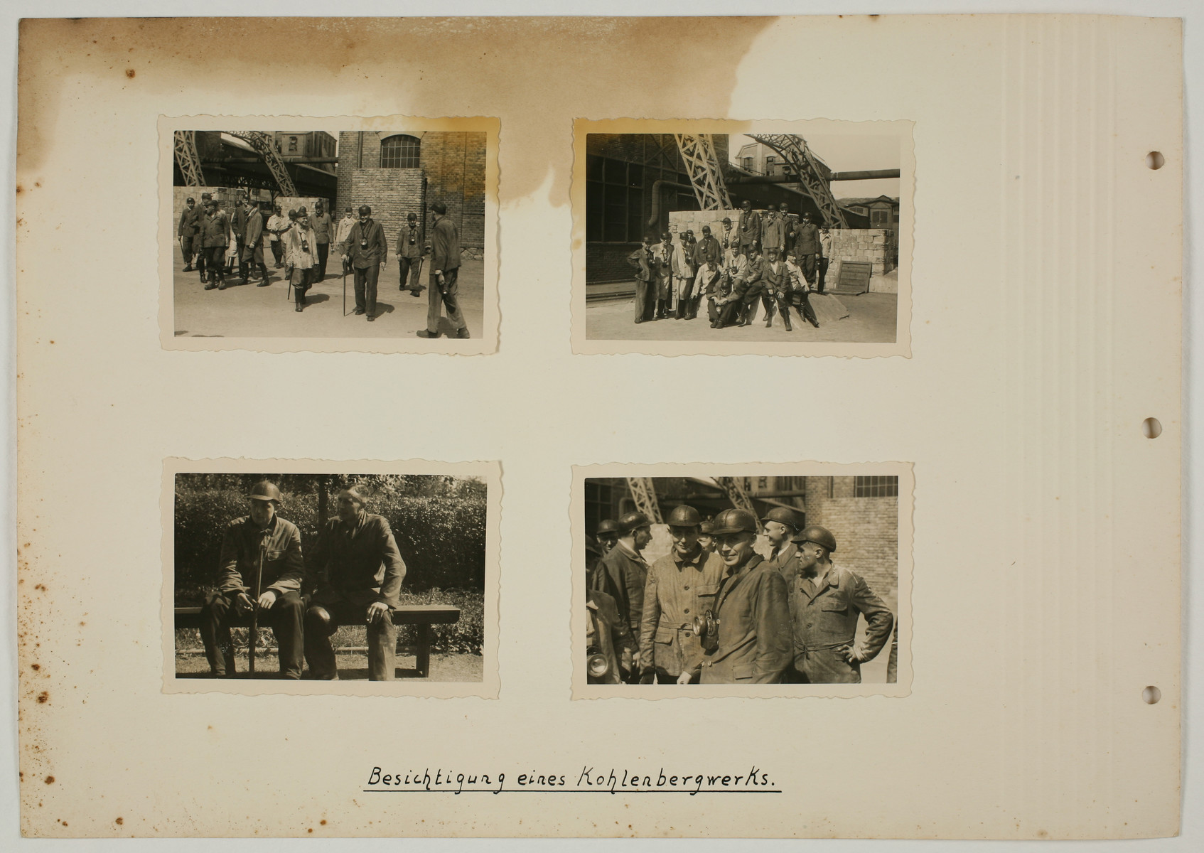 "One page from an album created by adjutant to the commandant Karl Hoecker, depicting SS activities in and around the Auschwitz concentration camp.  The original caption reads ""Visiting a coal mine""."