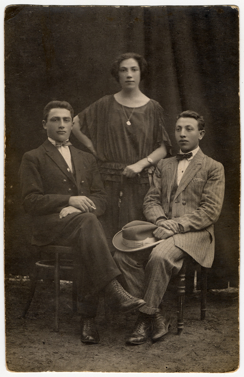 Studio portrait of three cousins.  Pictured are Morris Bereshkovsky bottom left, his sister Sara Bereshkovsky and their cousin, Yosel Frieden.  Morris' fate is unknown.  He went to Canada but might have returned to Europe before the war.