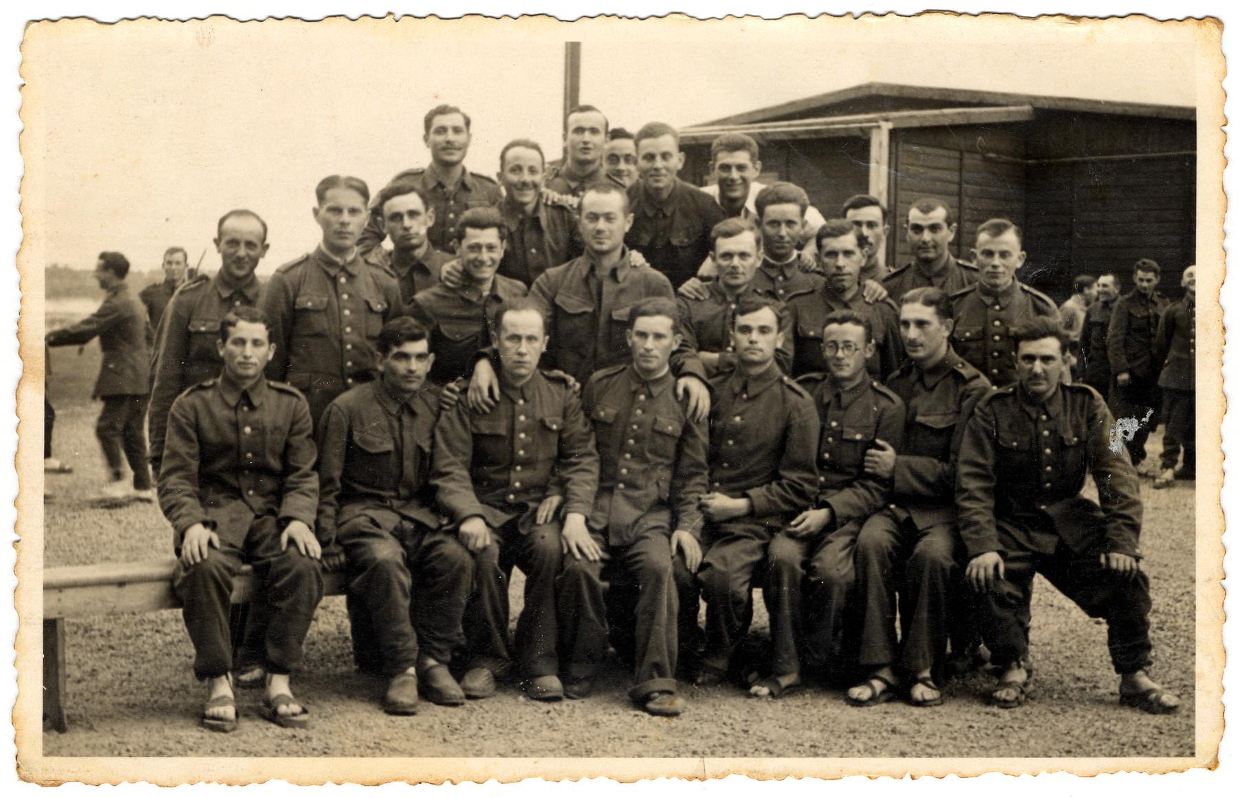 Group portrait of prisoners in the Elsterhorst prisoner of war camp, Stalag IVa.