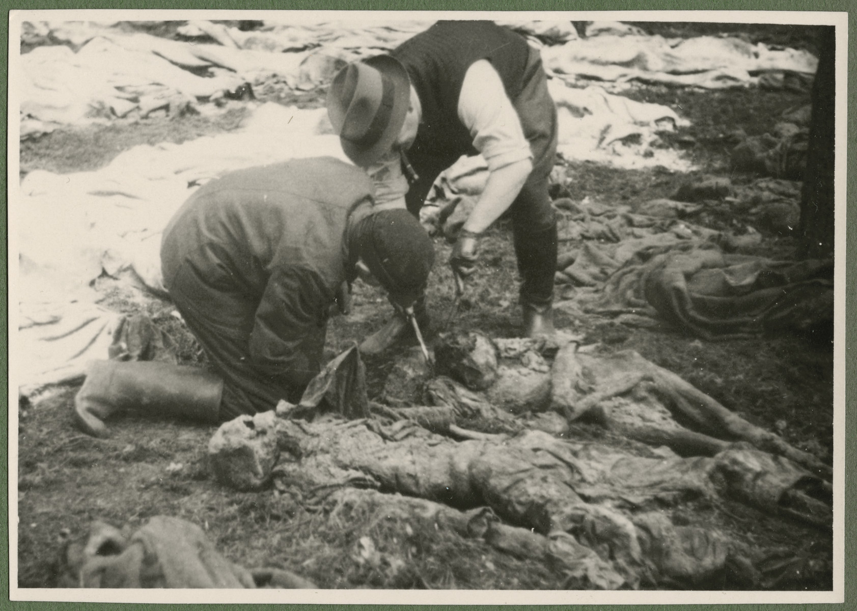 """Under the supervision of British troops, German civilians and Nazi officials exhume the corpses of 243 slave laborers for proper reburial.  The victims were shot by their guards on the railway lines at Lueneburg on the way to the Belsen Camp.    The original caption reads: The odor of the exhaust from the truck seems mild by comparison."""""""
