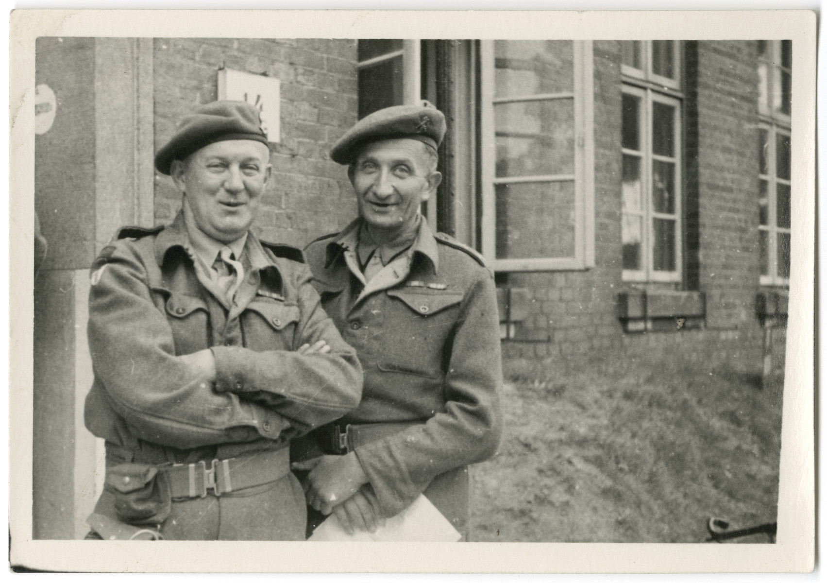 Lt. Marcel Frank (right) poses with Captain Greaves in Lueneburg, Germany.