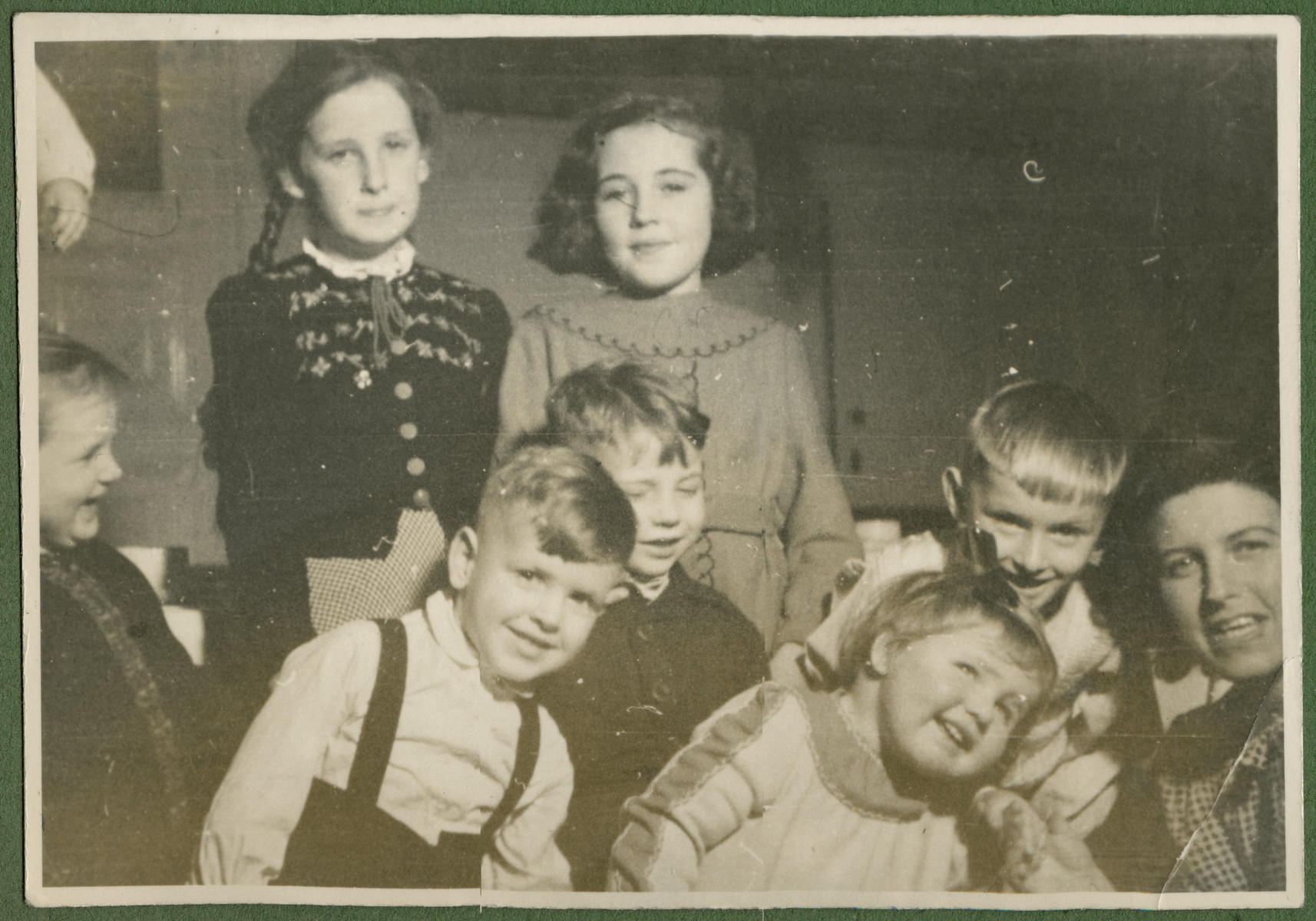 Group portrait of young children in the Lueneburg displaced persons center.