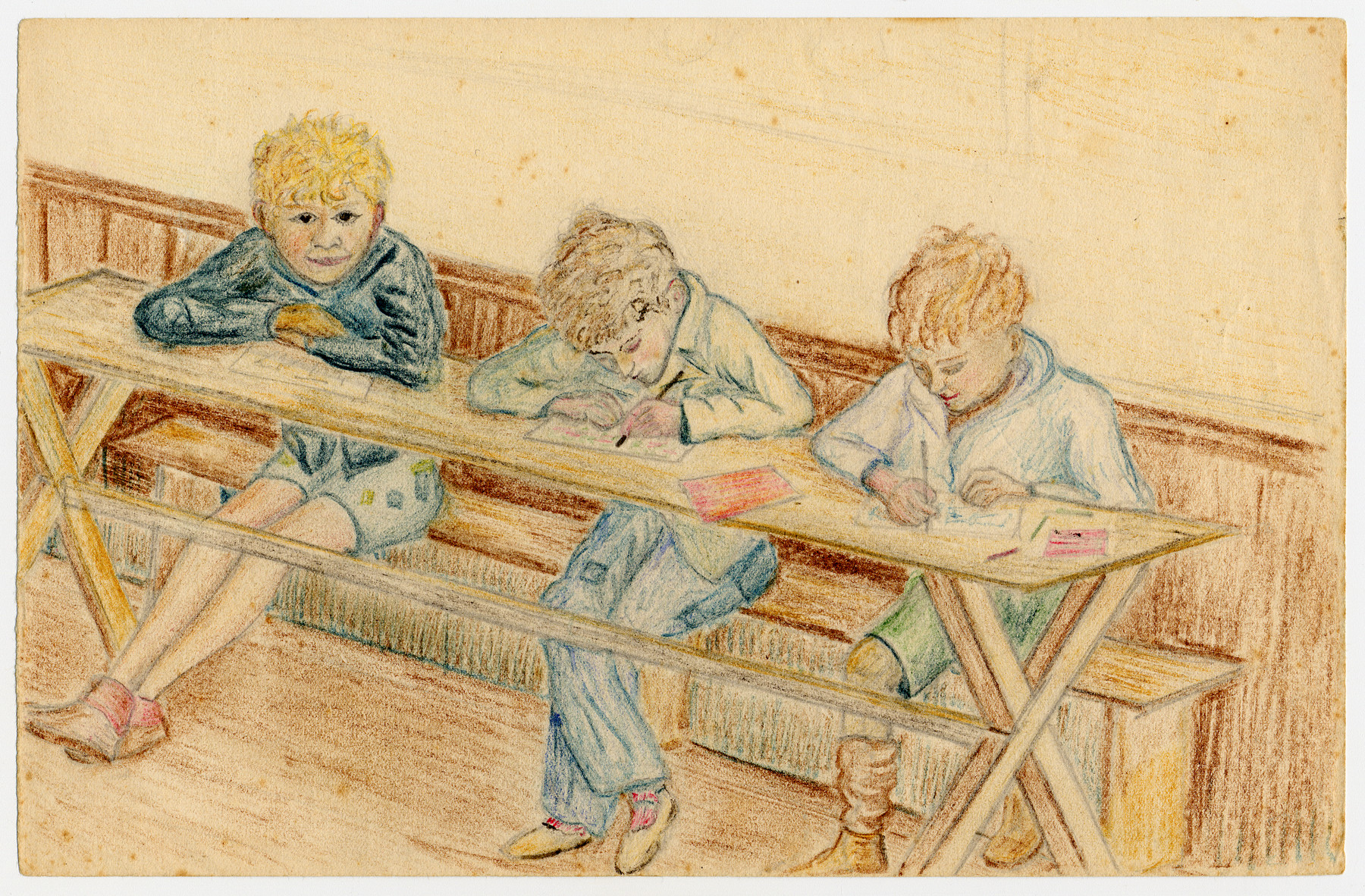 Color child's drawing of three boys doing their schoolwork around a wooden table in Chateau de la Hille.