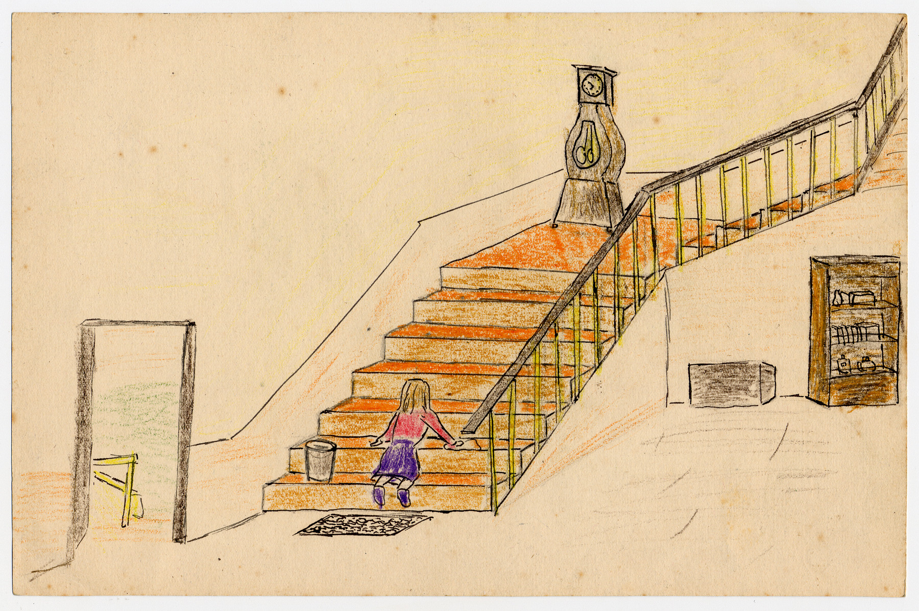 Color child's drawing of a girl scrubbing the steps of Chateau de la Hille.