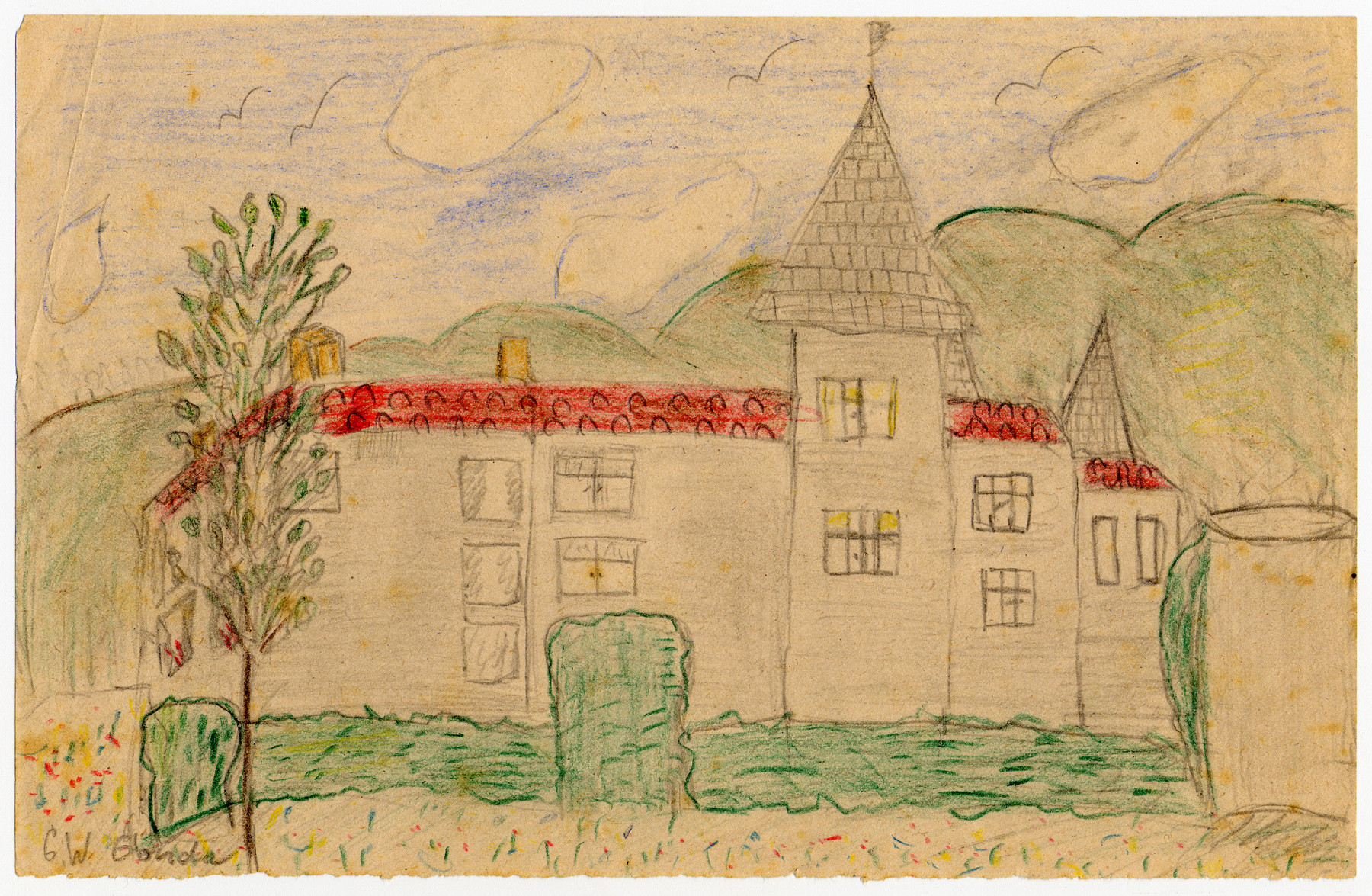 Color child's drawing of an exterior view of Chateau de la Hille.