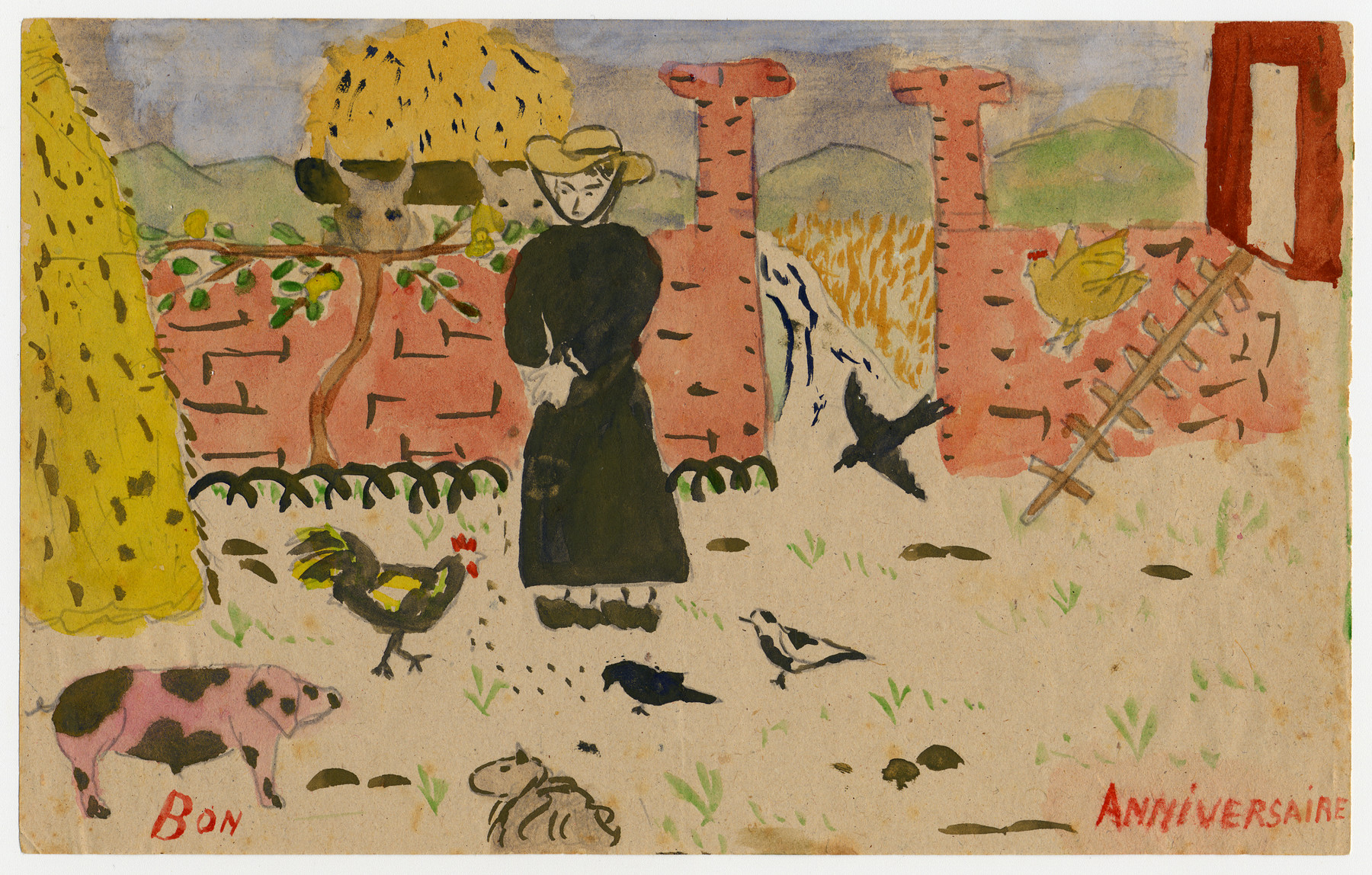 """Color child's drawing of a woman feeding farm animals created by a child in Chateau de la Hille.  On the bottom is written """"bon anniversaire"""" (happy birthday)."""
