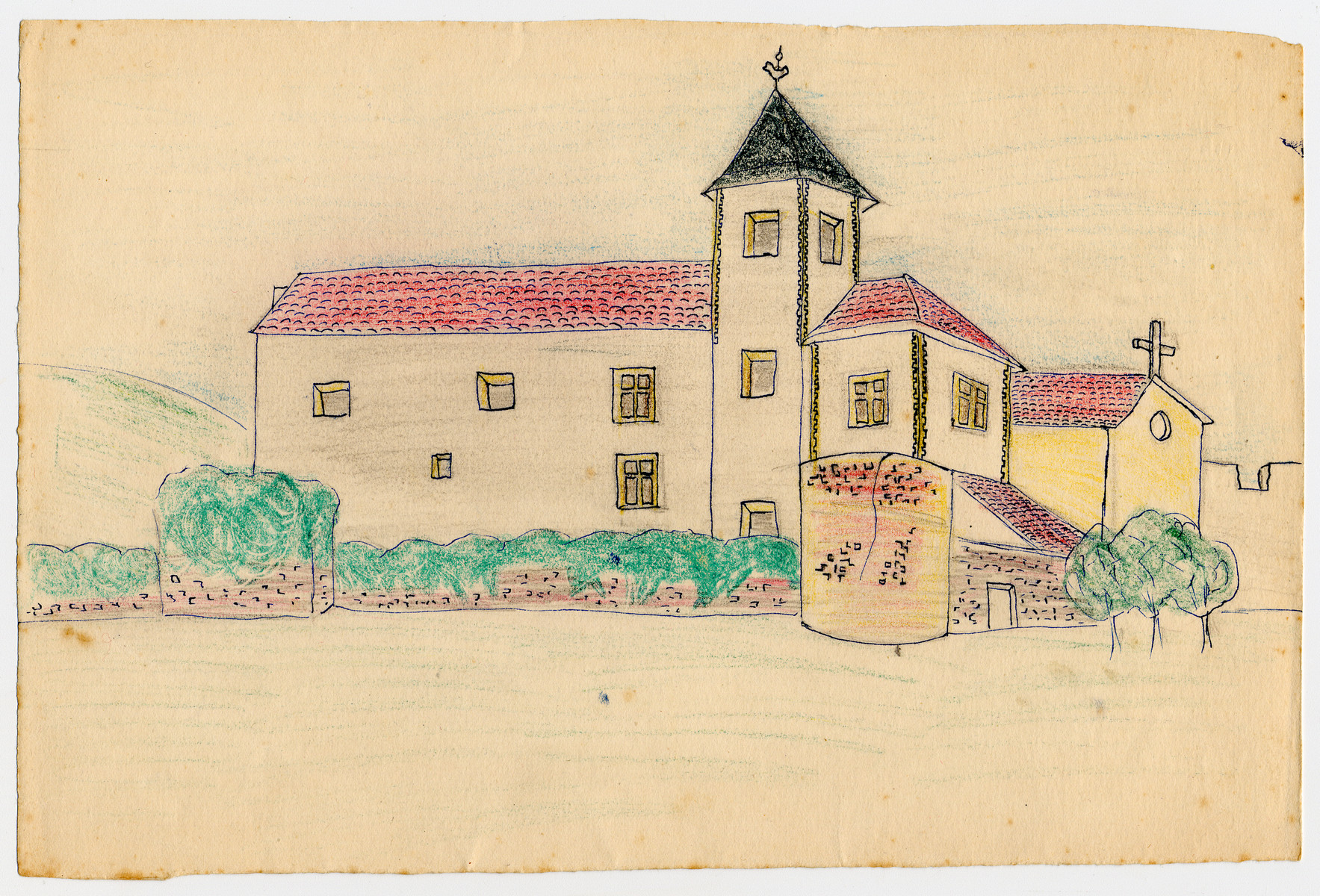 Color child's drawing of the exterior view of a church created by a child in Chateau de la Hille.