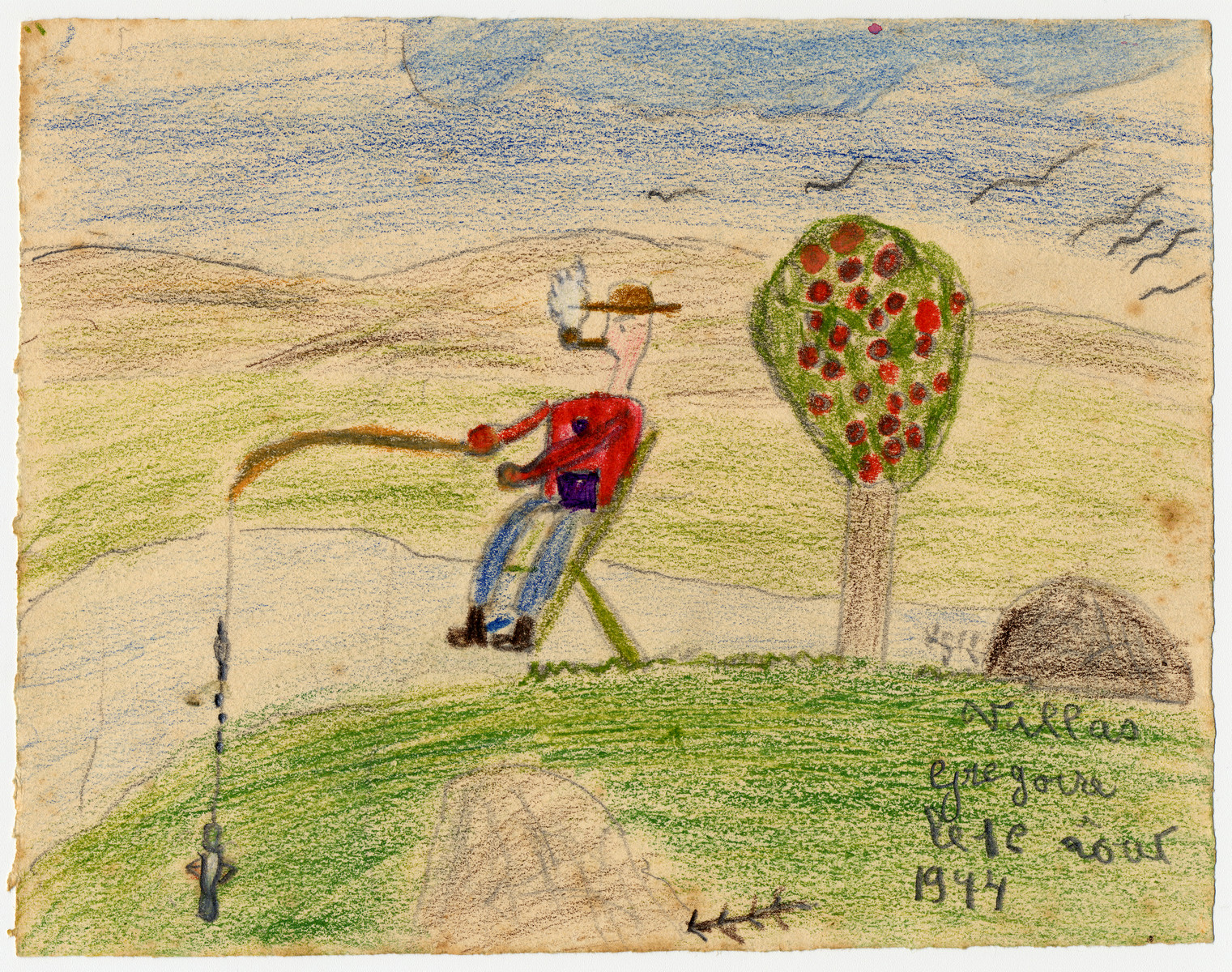 A child's drawing of a man going fishing created by a child in Chateau de la Hille.