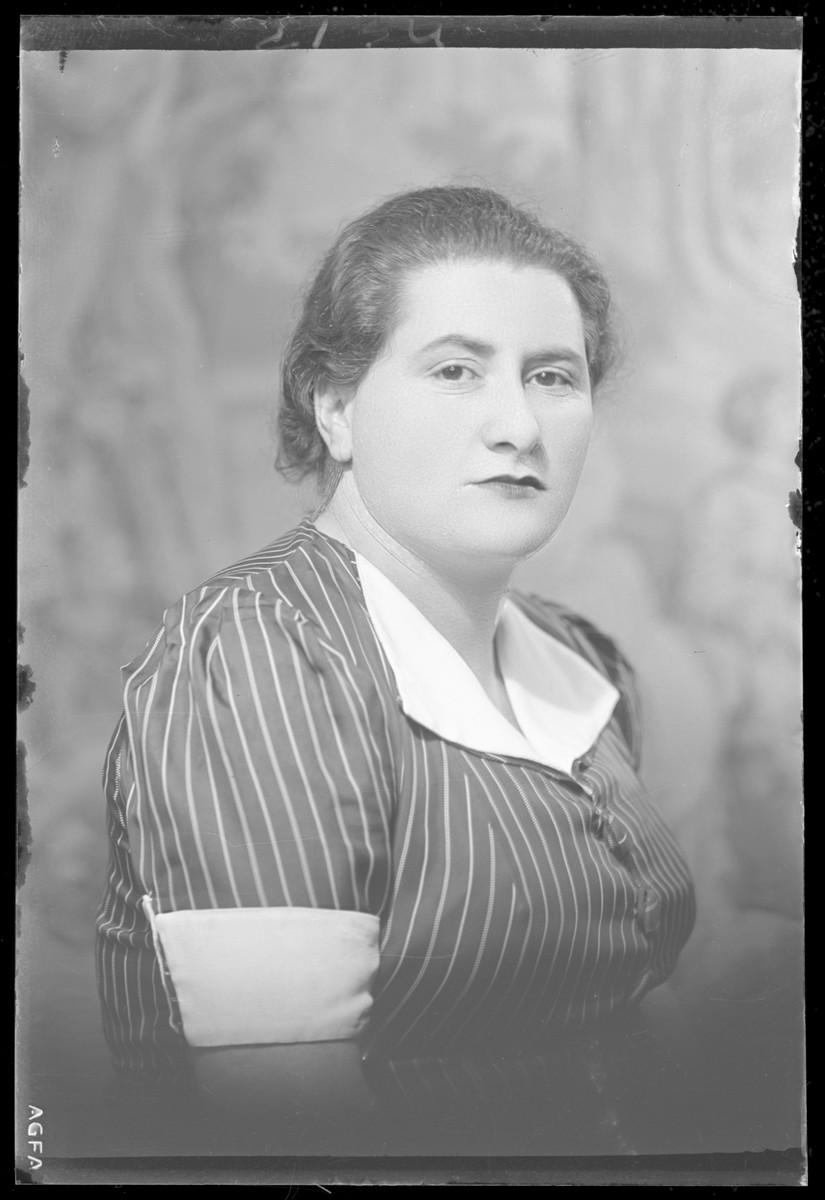 Studio portrait of Martonne Berger.