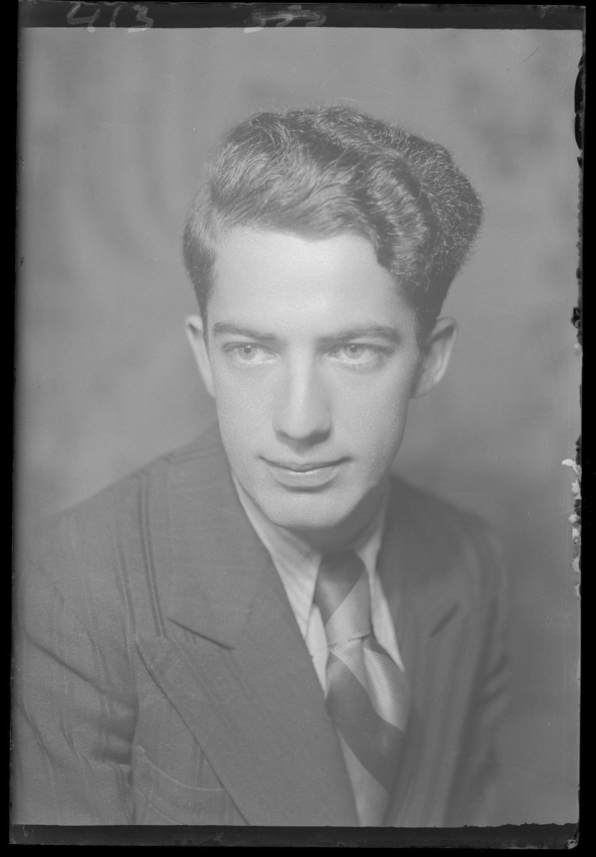 Studio portrait of Bela Ackerman.  He survived the war.  He, his wife Eva and daughter Iboi survived the war and moved to Israel.