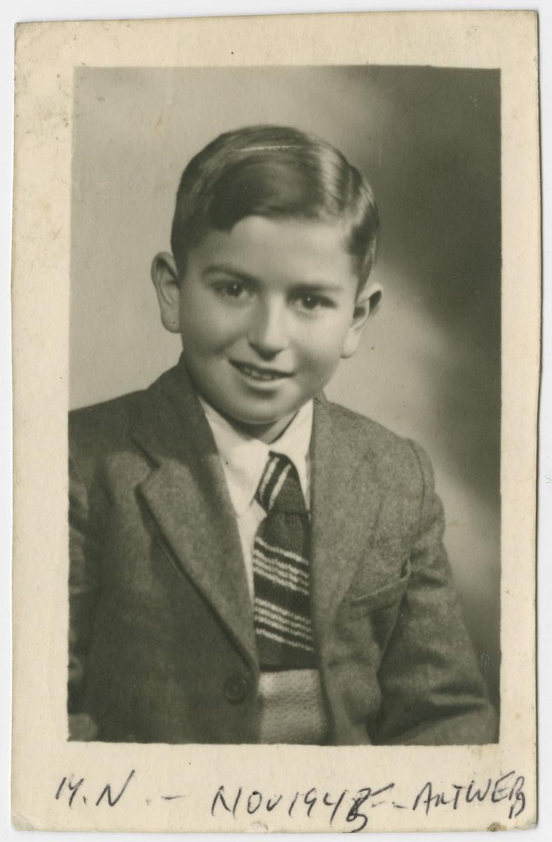 Portrait of Mark Nusbaum, a child survivor of Bergen-Belsen.