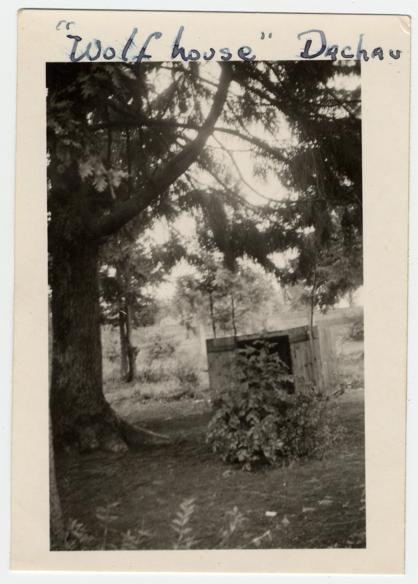 """View of the """"Wolf House"""" located next to large trees in the Dachau concentration camp."""