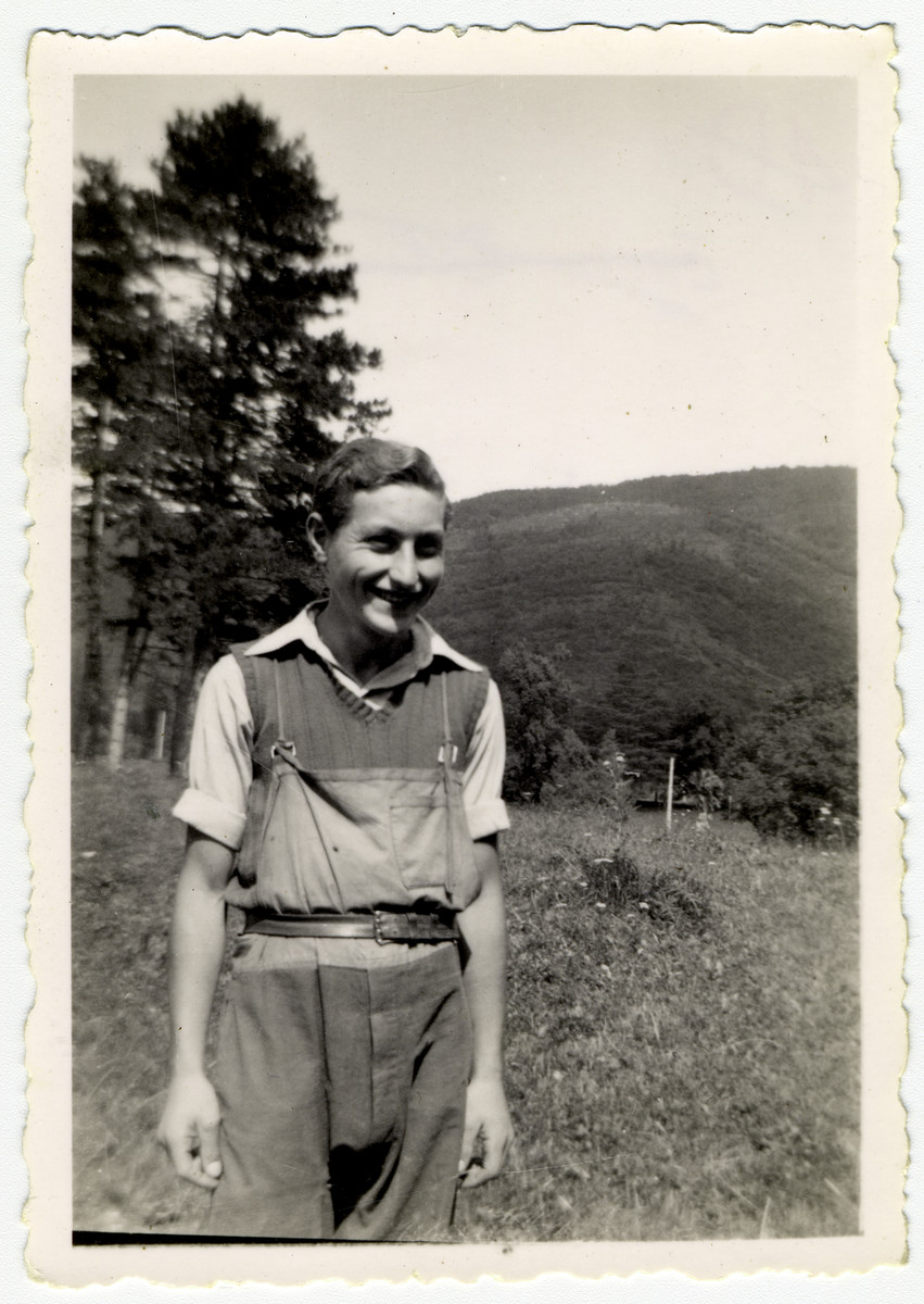 Addi Nussbaum poses at the children's home of Chateau de la Hille.   Addi escaped illegally to Switzerland in 1943. He later immigrated to the United States.