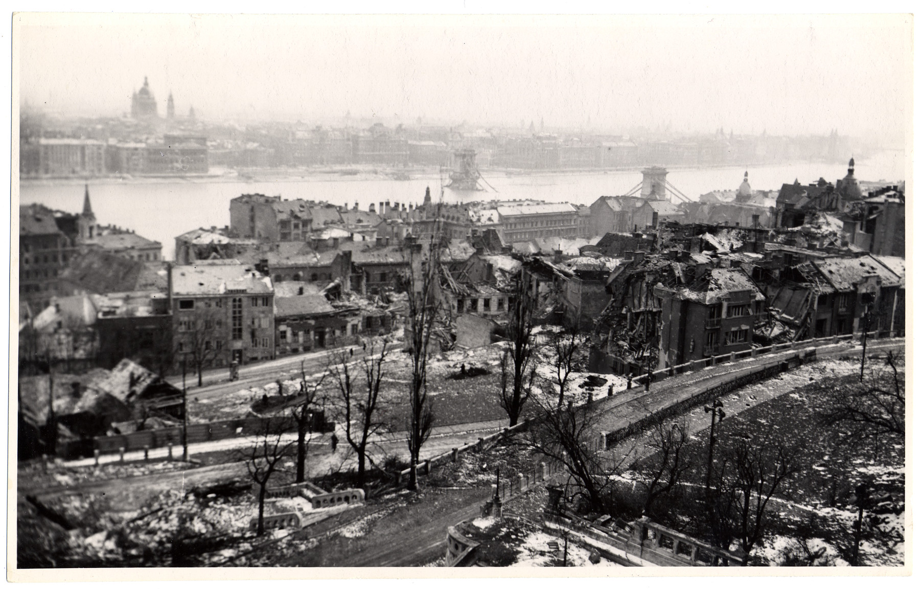 View of wartime Budapest after of the American bombing.