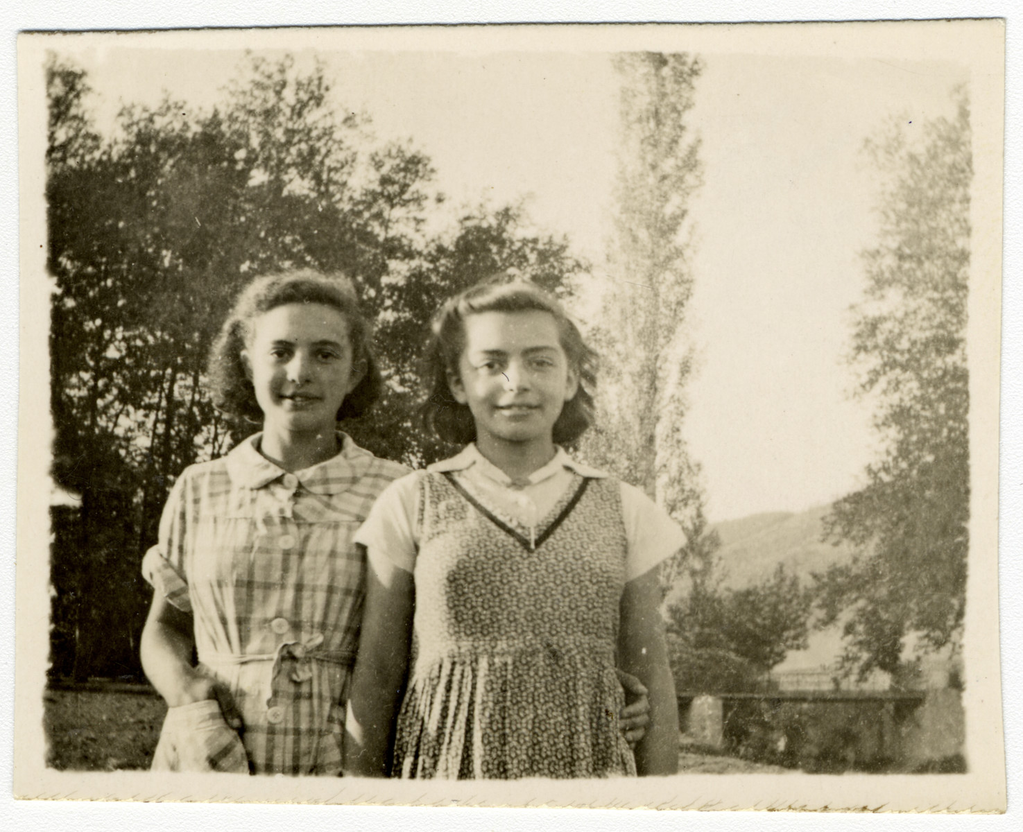 Two girls pose at the children's home of Chateau de la Hille.   Pictured are Rita and Fanny Kuhlberg. They survived in hiding in France and live in Israel.