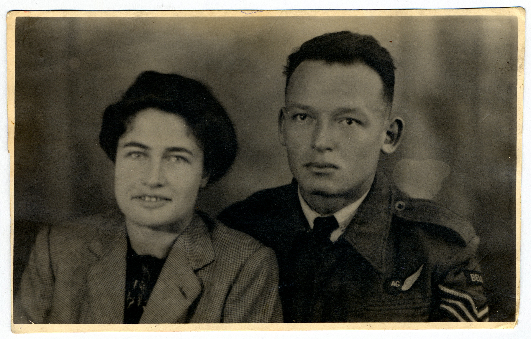A portrait of Elka and Alexander Frank.   She had been the director of the Home General Bernheim in Belgium. He had been the director of the colony at Seyre, France. The photo was taken in England (1944), after the Franks had fled via Spain and Alex had enlisted in the RAF.