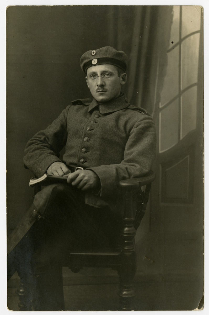 Studio portrait of Emil Feigenbaum, a German-Jewish soldier in World War I.  Emile served for four years in the Bavarian Field Artillery and sent to the Western Front.